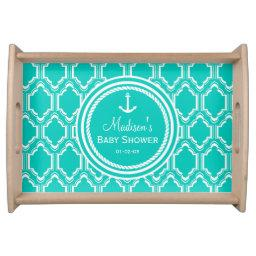 Aqua Turquoise Retro Nautical Anchor  Serving Tray