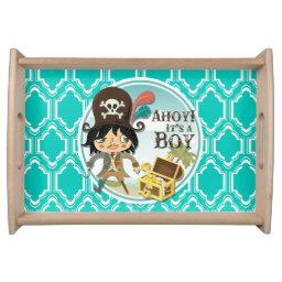 Aqua Turquoise Retro Pirate Boy Baby Shower Serving Tray