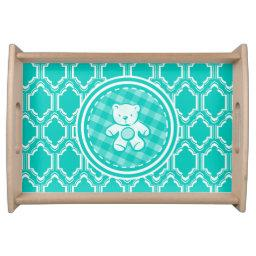 Aqua Turquoise Retro Teddy Bear Baby Shower Serving Tray