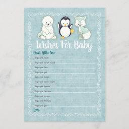 Arctic Winter Animals Wishes For Baby Shower Game Invitation