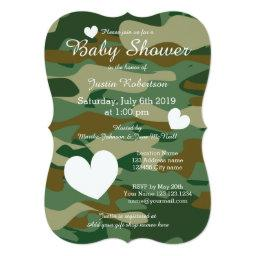 Army camo baby shower  with cute hearts