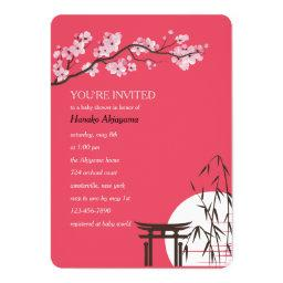 Asian Sakura Baby Shower Invitation