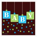 Baby Blocks Blue Green Boy Baby Shower