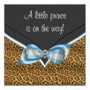 Baby Blue Cheetah Prince Baby Shower Invitation