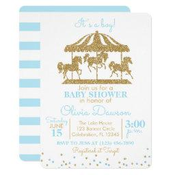 Baby Blue & Gold Carousel Boy Baby Shower Invitation