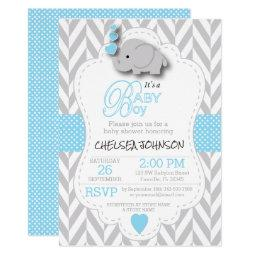 Baby Blue, White Gray Elephant Baby Shower