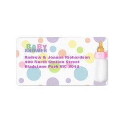 Baby Bottle & Polka Dots Baby Shower Address Label