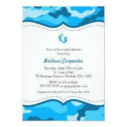 Baby Boy Blue Camouflage Shower Invites feet CAMO