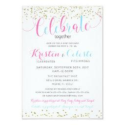 Baby Boy Girl Friends Combined Joint Baby Shower Invitation