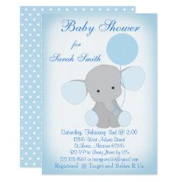 Elephant baby shower invitations babyshowerinvitations4u baby boy shower blue gray filmwisefo Images