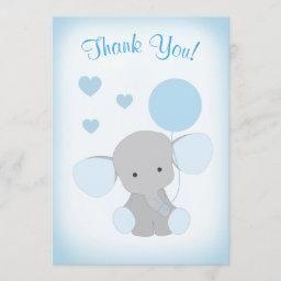Baby Boy Shower Thank You  Elephant Blue Gray