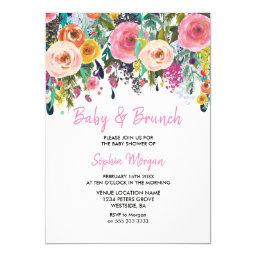 Baby & Brunch Baby Shower Pink Floral Invite
