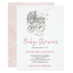 Baby Carriage Blush Watercolor Baby Girl Shower Invitation