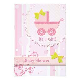 Baby Carriage It's a Girl! Pink Baby Shower