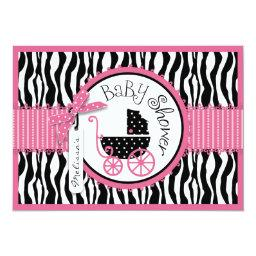 Baby Carriage, Zebra Print & Hot Pink Baby Shower