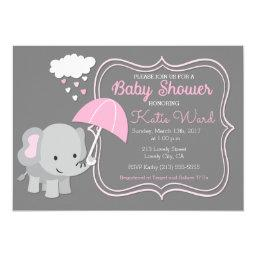 Baby Elephant Girl Baby Shower Pink