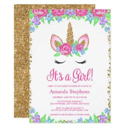 Baby Girl Floral Unicorn Gold Glitter Baby Shower