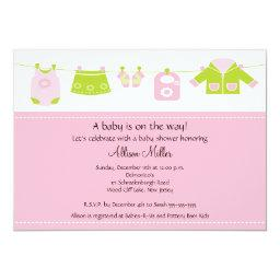Baby Girl Laundry Clothesline Baby Shower Invitation
