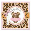 Baby Girl Pink Tutu Cheetah Print Baby Shower Invitation