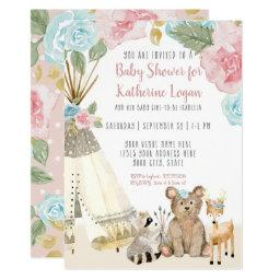 Baby Girl Shower Woodland Bear Deer Floral Teepee Invitation