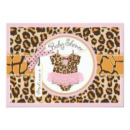 Baby Girl Tutu Cheetah Print Baby Shower Invitations
