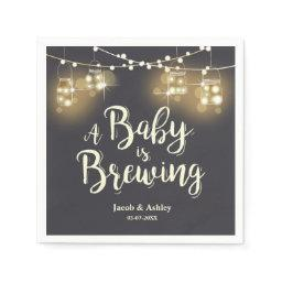 Baby is brewing bbq Baby shower couples Napkins