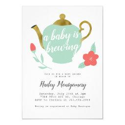 Baby Is Brewing | Tea Party Baby Shower Invitation