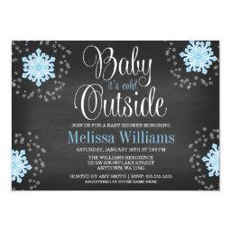 Baby It's Cold Outside Blue Snowflakes Baby Shower