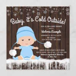 Baby Its Cold Outside Boy Baby Shower Invitation