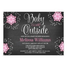 Baby It's Cold Outside Pink Snowflakes Baby Shower