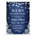 Baby It's Cold Outside Rustic Blue Baby Shower Invitation