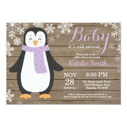 Baby Its Cold Outside Rustic Penguin Baby Shower Invitation
