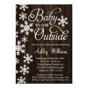 Baby It's Cold Outside Rustic Wood Baby Shower Invitation