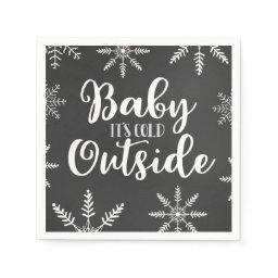 Baby Its Cold Outside Silver Winter Baby Shower Napkin