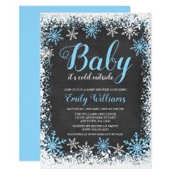 Baby Its Cold Outside Snow Winter Boy Baby Shower Invitation