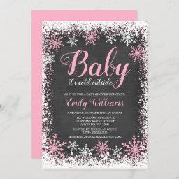 Baby Its Cold Outside Snow Winter Girl Baby Shower Invitation