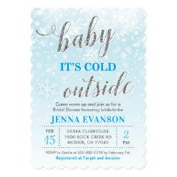 Baby It's Cold Outside Winter Blue Baby Shower Invitation