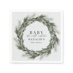 Baby Its Cold Outside Winter Wreath Baby Shower Napkin