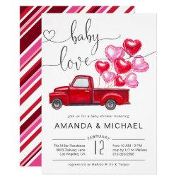 Baby Love | Red Truck Heart Balloons Baby Shower Invitation