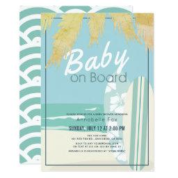Baby On Board Beach Surf Boy Baby Shower Invitation