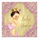 Baby Pink And Gold Foil Swirl Girl Baby Shower Invitations