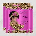 Baby Shower Baby Cute Girl Leopard Hot Pink Gold A Invitation
