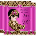 Baby Shower Baby Cute Girl Leopard Hot Pink Gold B Invitations