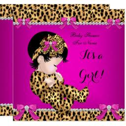 Baby Shower Baby Cute Girl Leopard Hot Pink Gold E