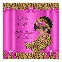 Baby Shower Baby Cute Girl Leopard Hot Pink Gold Invitation