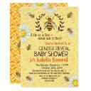 Baby Shower Bee Honeybees Flowers Gender Reveal Invitation
