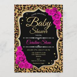 Baby Shower - Black Pink Gold Leopard Print Invitation