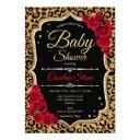 Baby Shower - Black Red Gold Leopard Print Invitation