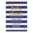 Baby Shower Blue Navy Stripe Gold Glitter Invite