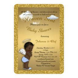 Baby Shower Boy, Afro American,Baby Angel,Gold
